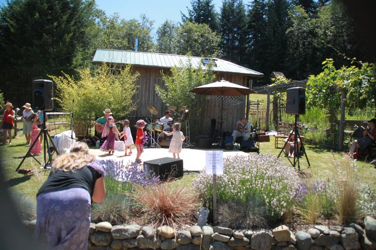 Enjoying entertainment at Sacred Mountain Lavender Festival