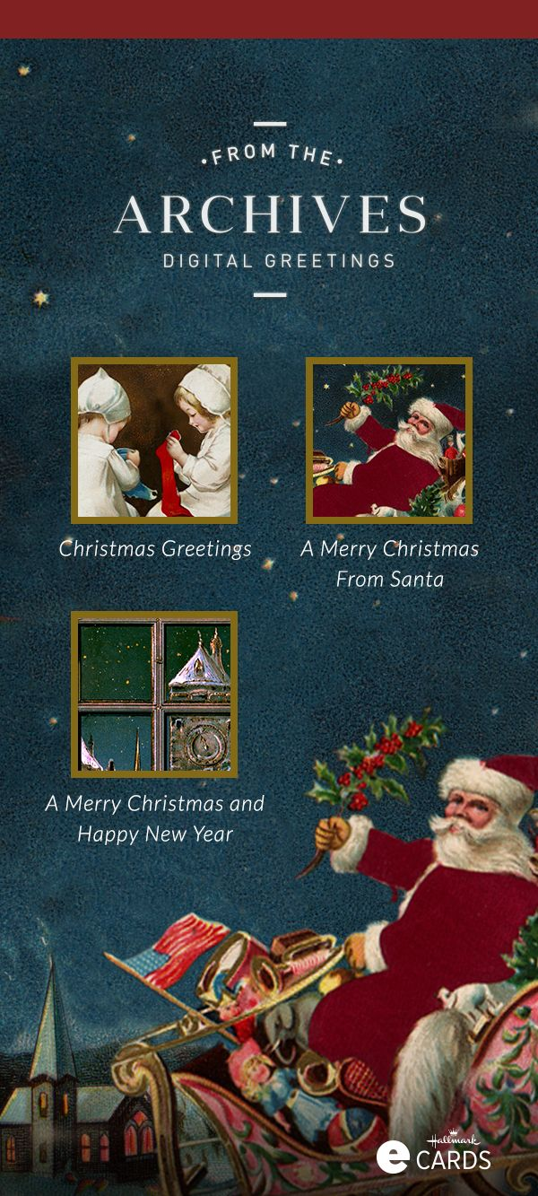 free ecard christmas party invitations%0A Need a last minute Christmas card  Check out these vintage Christmas ecards  from Hallmark