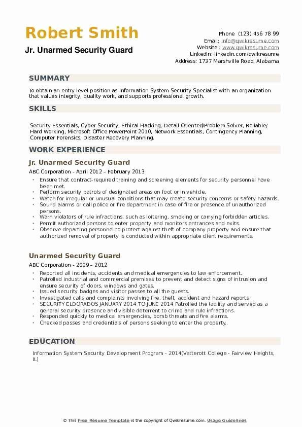 Security Officer Resume Sample Unique Unarmed Security Guard Resume Samples