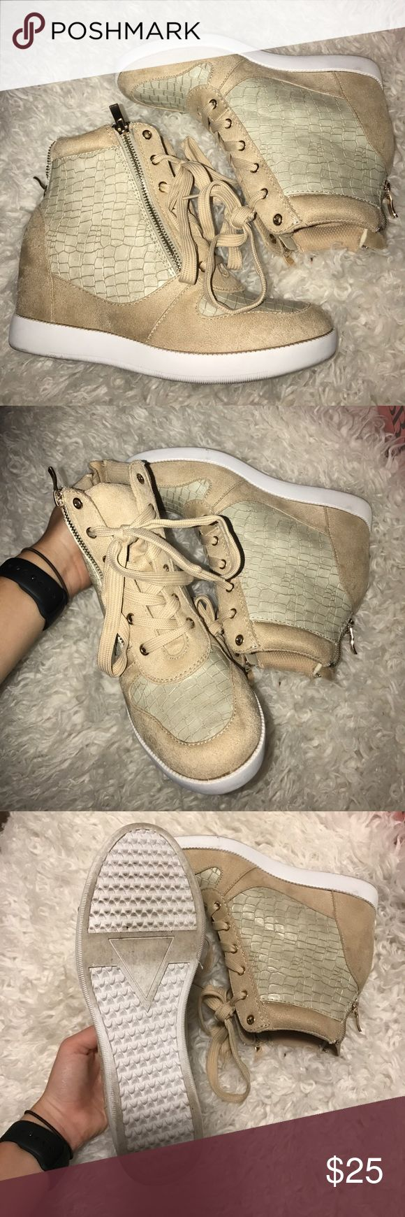 Hidden Wedge Sneakers! Light pink and champagne crocodile sneakers! Worn once for about 3 hours. Not really cute on me! I love them so it's a bummer but they're in fantastic condition! Size 7.5. I usually wear a size 7 but the site suggested I go up a half size! Shoe Dazzle Shoes Sneakers