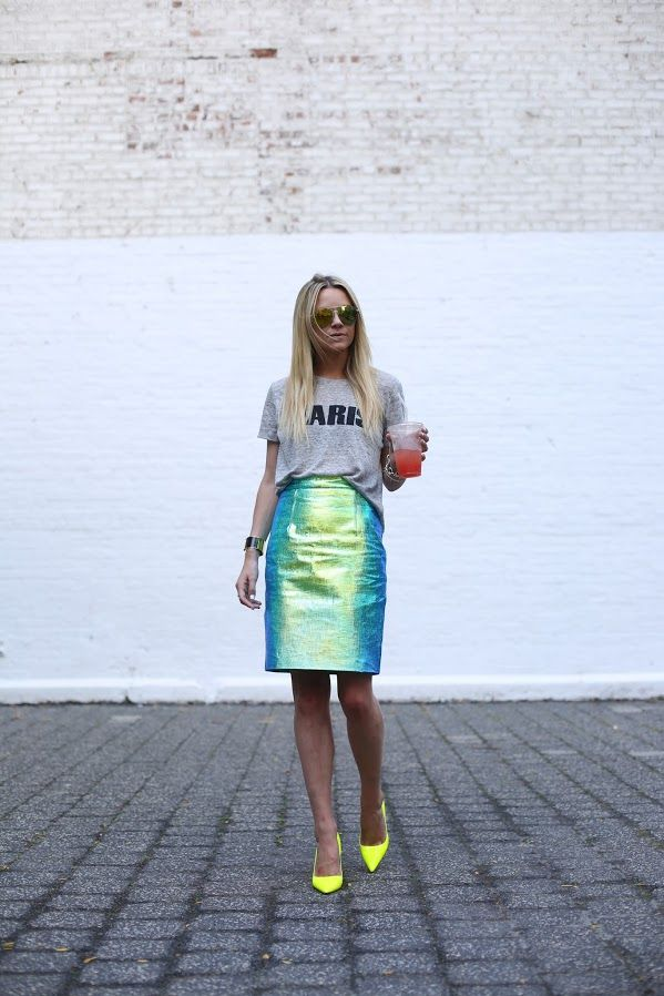 Iridescence, a tshirt, and neon...what more could you ask for?!
