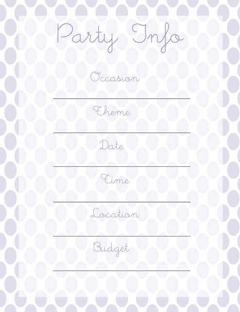 Everyday Love:  Party Planning {Printables}