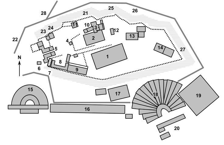 Acropoli di Atene (elementi principali): 1- Partenone 3- Eretteo 5-Propilei 6- Tempio di Atena Nike 14- Santuario di Pandion 18- Santuario di Dioniso