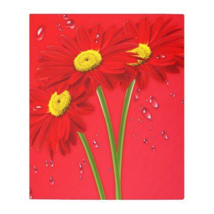 #Posters #Metal #Art - #Margarita red daisy metal print
