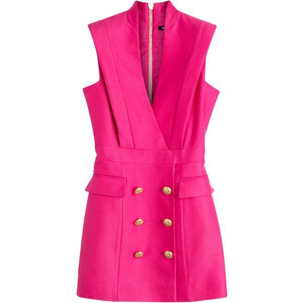 Balmain Crepe Tuxedo Dress (231,895 INR) ❤ liked on Polyvore featuring dresses, balmain, vestidos, short dresses, pink, short mini dresses, v neck mini dress, fitted tuxedo, v-neck dresses and pink fitted dress