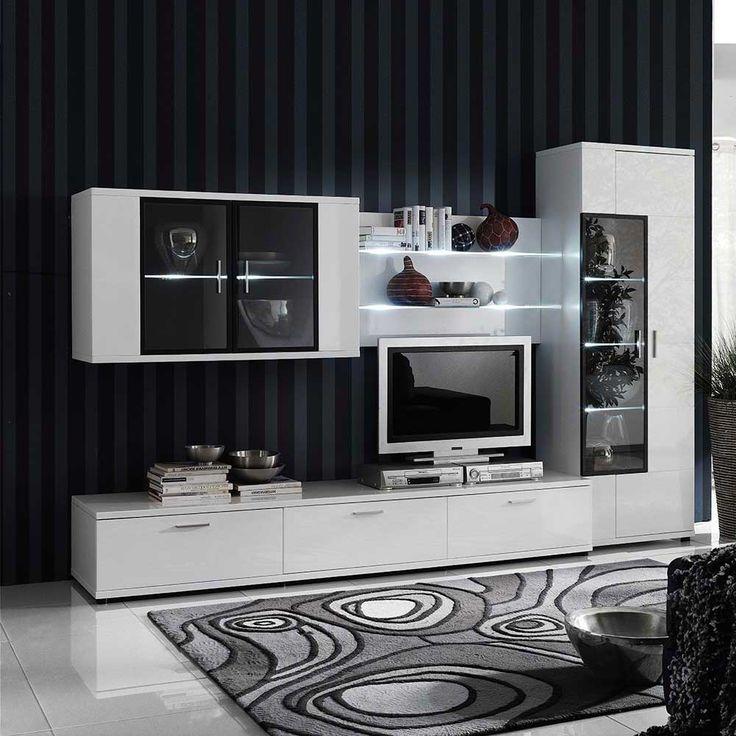 design wohnwand wei hochglanz. Black Bedroom Furniture Sets. Home Design Ideas