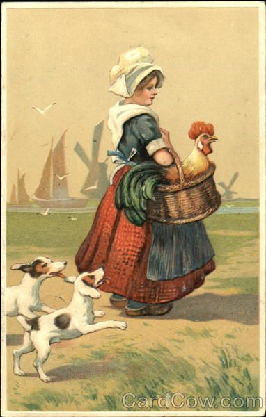 Dutch girl carrying a rooster in a basket Dutch Children