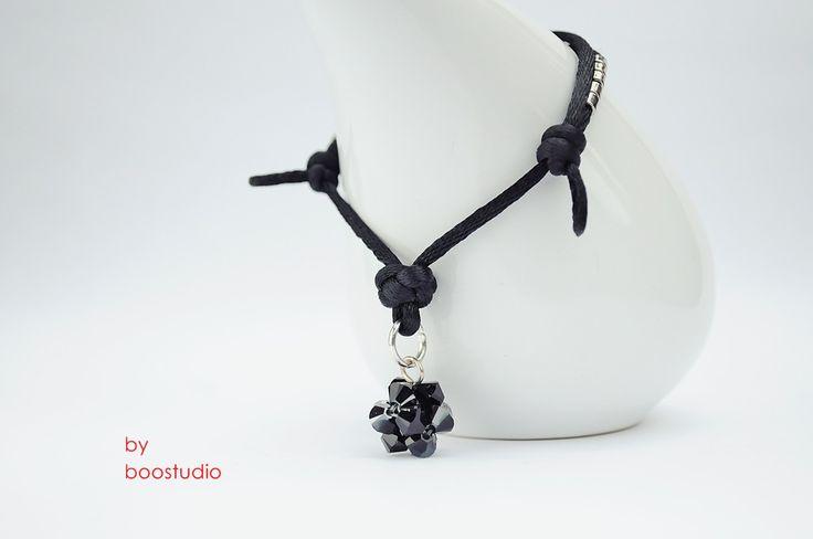 Satin cord bracelet - bransoletka z czarnej satyny ozdobiona kulką z kryształków Swarovskiego - BICONE - JET HEMATITE. Dodatkowa ozdobę stanowią japońskie koraliki MIYUKI  www.facebook.com/BooStudioHandMade