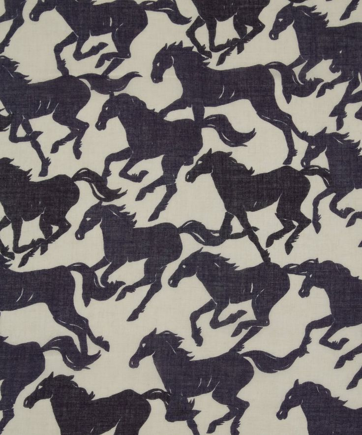 Stella McCartney Blue Running Horse Print Scarf | Scarves by Stella McCartney | Liberty.co.uk
