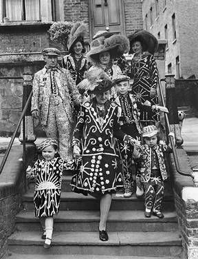Messy Nessy Chic uncovers the Pearly Kings and Queens, an English style subculture, with their colorful feathered hats and hand-sewn pearl button suits.