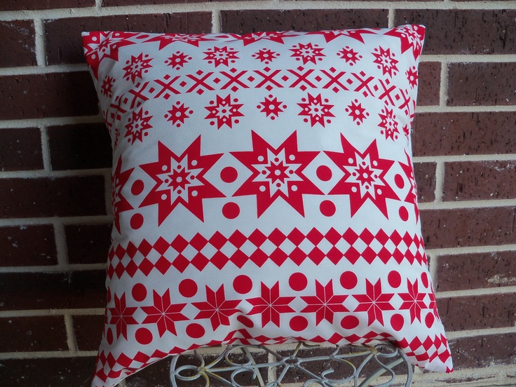 Scandinavian Christmas Pillow : Scandinavian Red and White Print Pillow Cover. $16.50, via Etsy. It s Beginning to Look a Lot ...