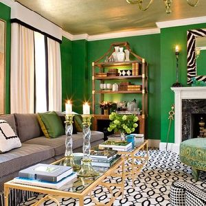 Sherrill Canet Living Rooms Green Walls Gold