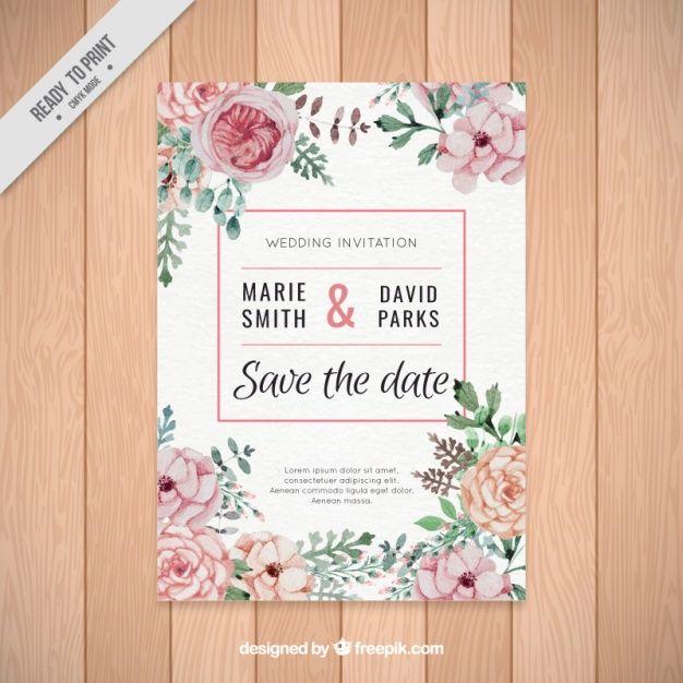 水彩画の花の美しい結婚式の招待状 無料ベクター