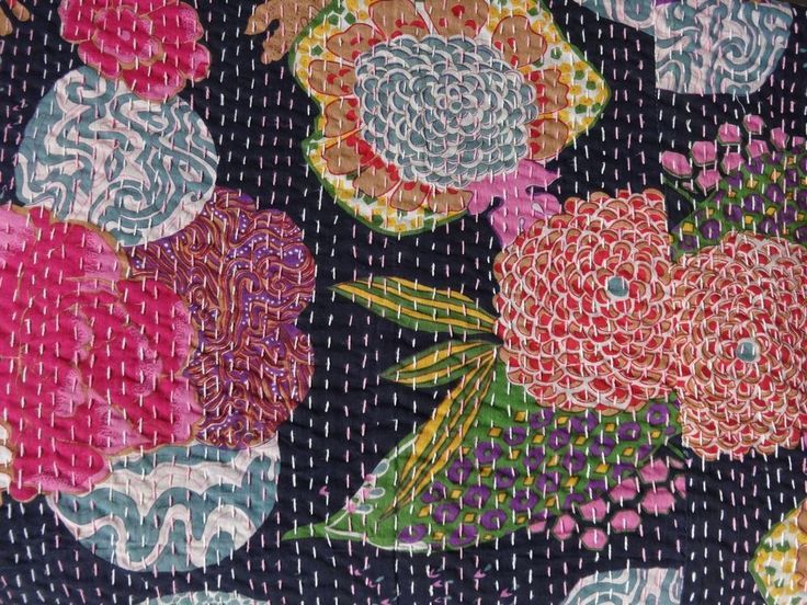 Tropical Print Kantha Quilt, Twin Size Bedding, Handmade Kantha Throw,Reversible #Handmade #ArtsCraftsMissionStyle