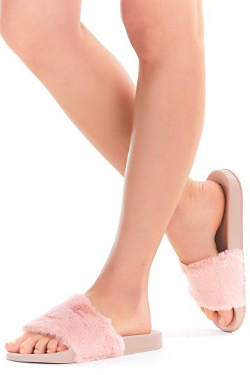 Women Fur Slides, Faux Fur Slippers, Flip Flop Rubber Soles Sandals, Ladies' Soft Flat Slide Slippers For Indoor Outdoor, Slip On With Arch Support Open Toe Girls Shoes Review