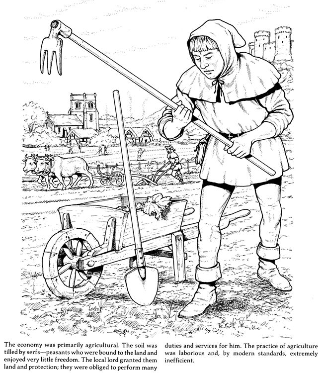 life in a medieval castle and village coloring book 3 sample pages - Castle Knights Coloring Pages