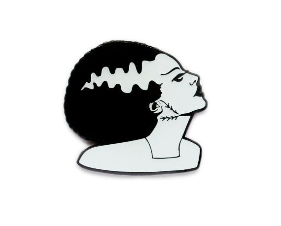 Halloween Bride of Frankenstein black and white by flapperdoodle