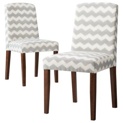 Awesome Thresholdu0026trade; Marion Upholstered Dining Chair Grey U0026 White Chevron ...