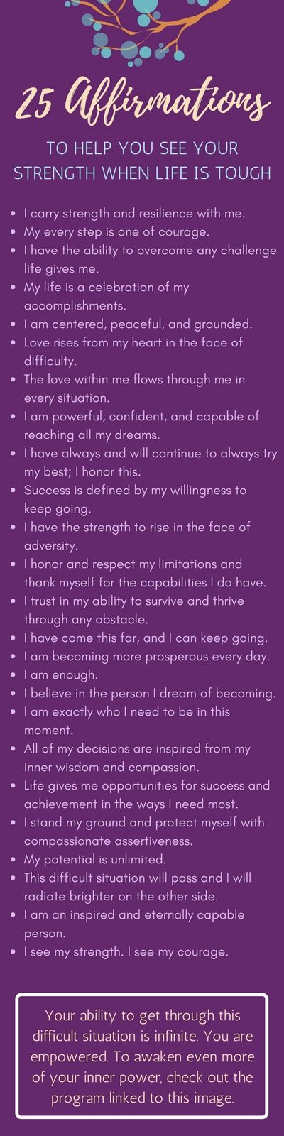 25 affirmations to help you see your inner strength when life is tough. Mental Illness | Recovery | Healing | Inspiration | Mindfulness
