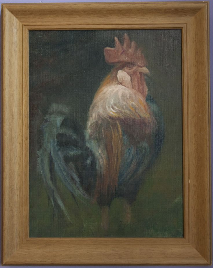 Commanding on the farmyard oilpainting on the canvas