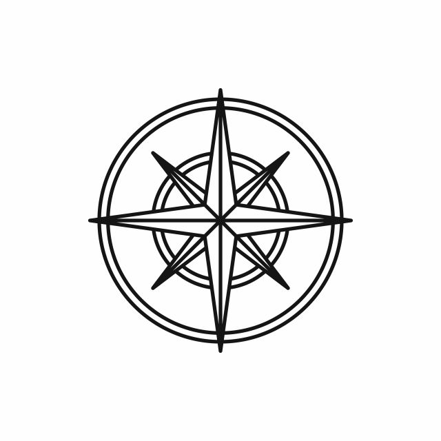 Compass Wind Rose Icon Outline Style Wind Rose Compass Icon World Map Tattoos