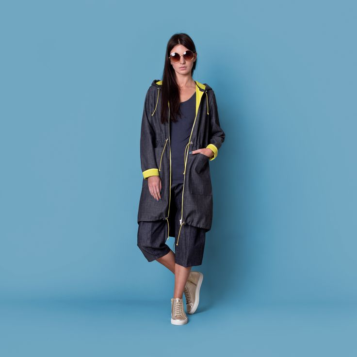 Cocoon Spring - Summer 2015 / Muss collection / Denim jacket with hood and yellow otherside and finishes.