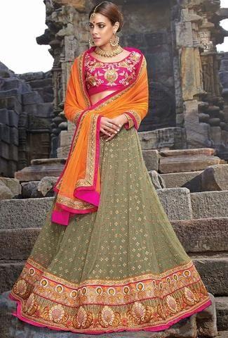 Mehendi Green Bridal Lehenga Choli Online ,Indian Dresses - 1