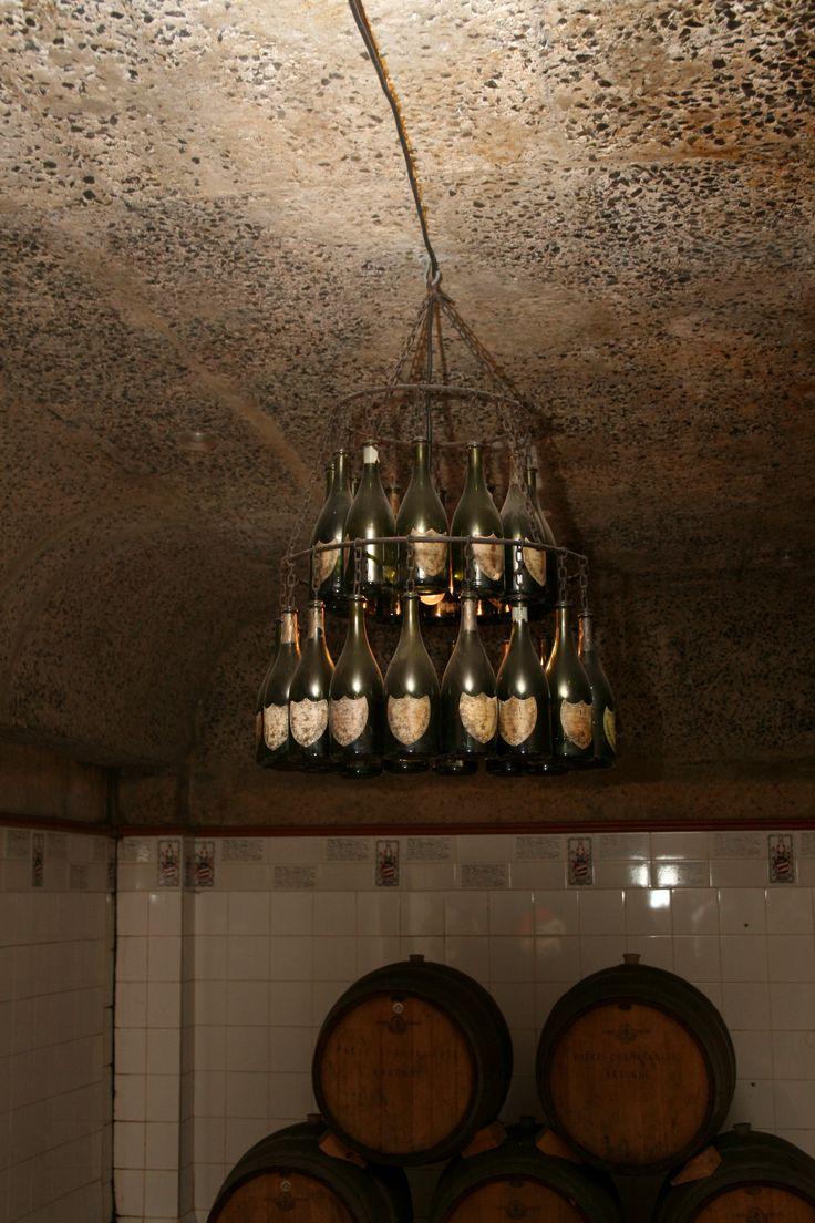 Dom Perignon bottle chandelier in the Haute Cabriere cellar