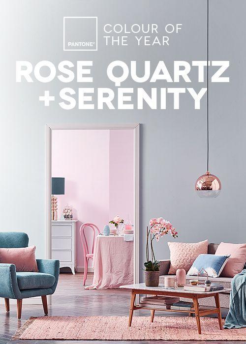 Azul serenity e rose quartz em uma linda sala! #decor #pantone