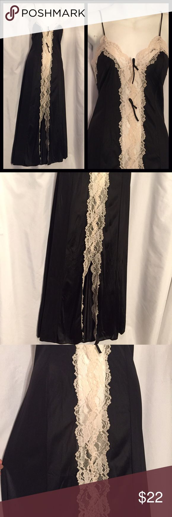 Vintage black lingerie gown Sheer Center lace M Beautiful black nylon full length nightgown with large sheer center lace. Two small bows at the top at that have come untied, very thin spaghetti straps, bottom center of gown have a sexy slit. No flaws 100% nylon by JCPenney size medium measures bust 34 inches waist 30 inches total length 55 inches. Vintage Intimates & Sleepwear Pajamas