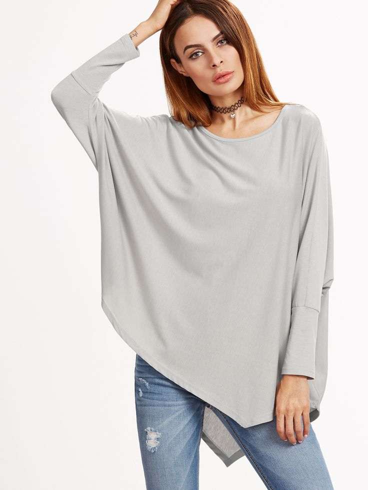 13$  Watch now - http://di713.justgood.pw/go.php?t=13858 - Grey Batwing Sleeve Asymmetric Hem T-shirt
