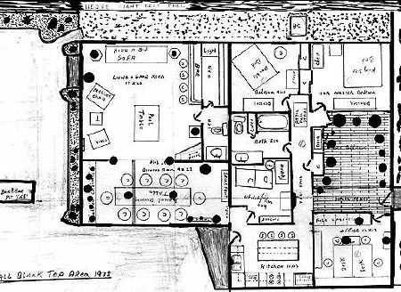 Floorplan drawn by John Wayne Gacy showing the locations of his victims of murderers