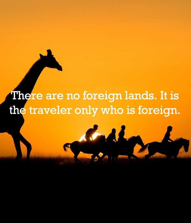 There are no foreign lands. It is the traveler only who is foreign.