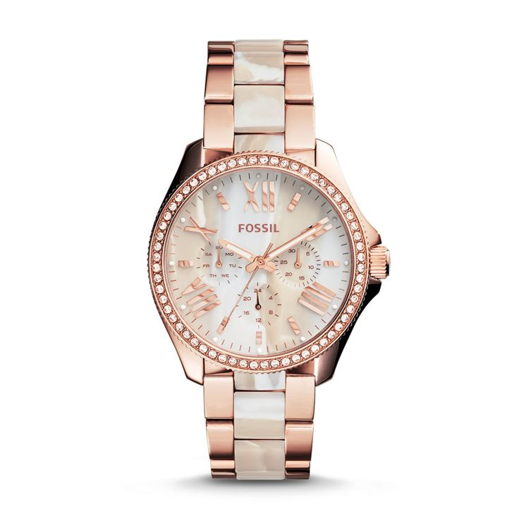Fossil Cecile Three-Hand Stainless Steel Watch – Rose with Horn Acetate| FOSSIL® Watches
