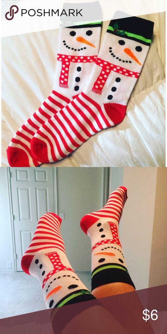 Snowman Socks Adorable Snowman Socks! Fits ladies shoe size 4-10. New! ⛄️ Accessories Hosiery & Socks