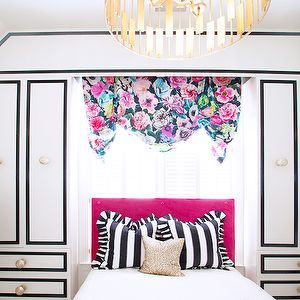 black white and pink girls room, love the paneling application - makes it look like a drawing