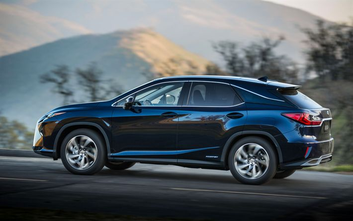 Download wallpapers Lexus RX, 450h, 2017, blue new RX, crossovers, Japanese cars, Lexus