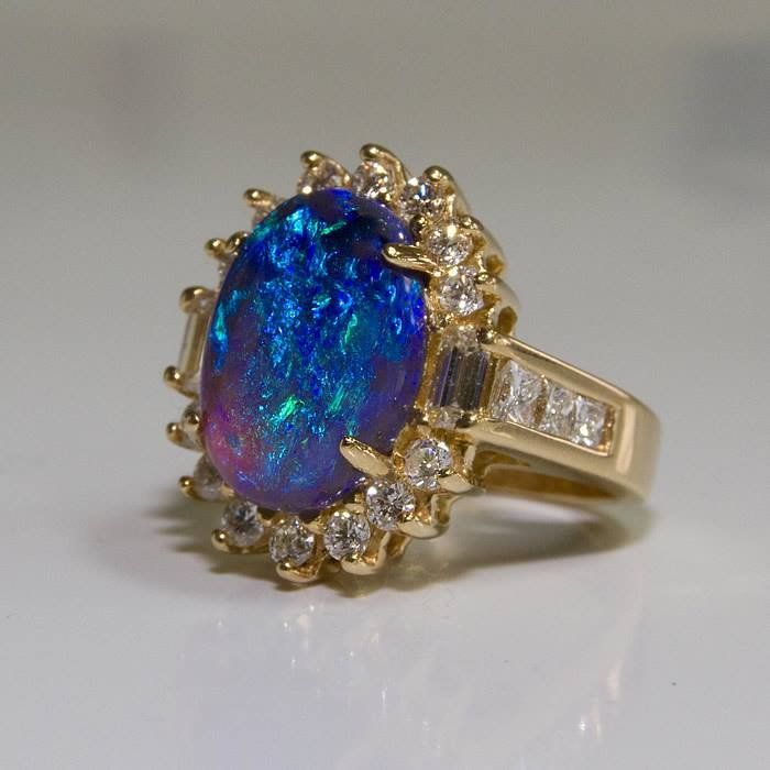 5.77ct Black Opal Ring