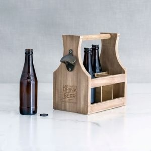 Wood Bottle Caddy With Opener - Drink Beer Etching | Print Canada Store