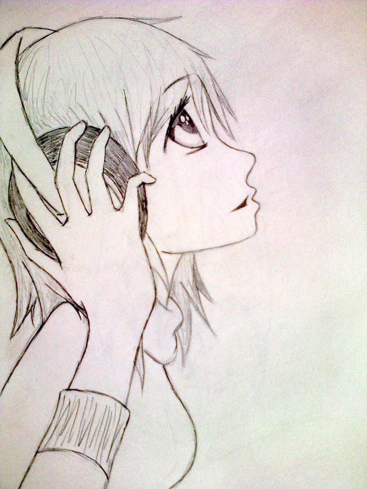 anime girl with headphones by TKP Anime Headphones
