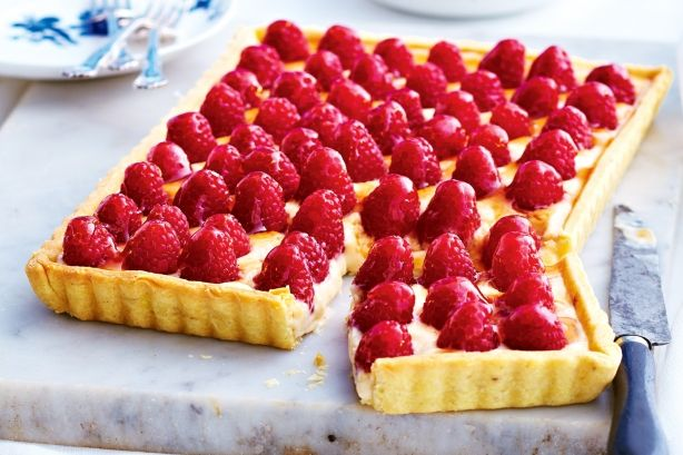 Filled with sweet creme patissiere, this pretty tart is the piece de resistance.