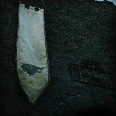 "Stark banner hangs in Winterfell once again. (6x9 ""Battle of the Bastards"")"