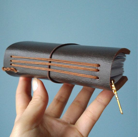 Mini leather journal by B2handmadedesign on Etsy