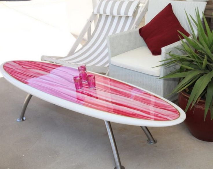 Furniture, Outstanding Surfboard Table Design For Patio With White Rattan Outdoor Chairs: Chic and Refreshing Hawaiian Flower Surfboard Table Design