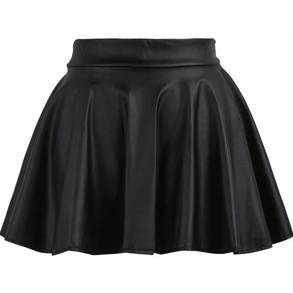 Pleated Flare PU Black Skirt (12 CAD) ❤ liked on Polyvore featuring skirts, bottoms, saias, black, skater skirt, black flared skirt, black skirt, mini circle skirt and black mini skirt