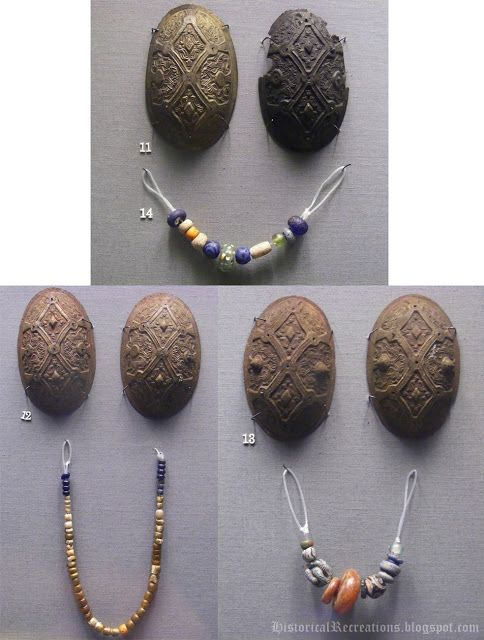 P-37 type tortoise brooches on display in the National Museum of Ireland. I love how they actually put the beads found in a particular burial together, so that one can see how many beads the deceased lady actually wore.