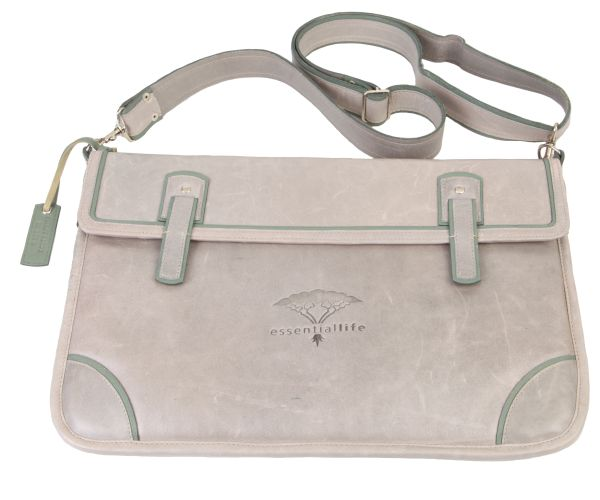 Large Grey padded Ipad/Laptop Satchel with green trimmings and an adjustable strap. #leather #laptop #grey #fashion