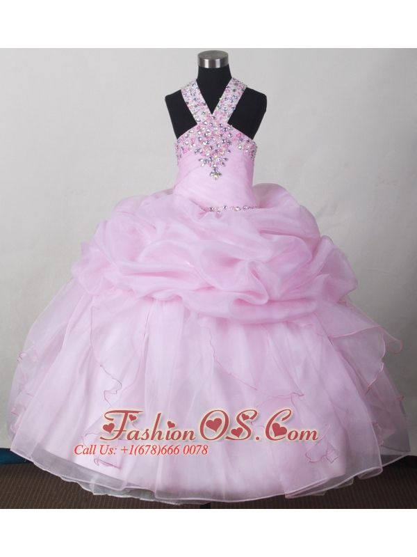 Sweet Baby Pink Little Girl Pageant Dresses With V-neck Beading and Pick-ups  http://www.fashionos.com  http://www.facebook.com/quinceaneradress.fashionos.us  The V-neck with twinkling beading defines the bodice, together with beautiful bubble on the ball gown finish the skirt. The pink colour makes the dress pretty lovely.