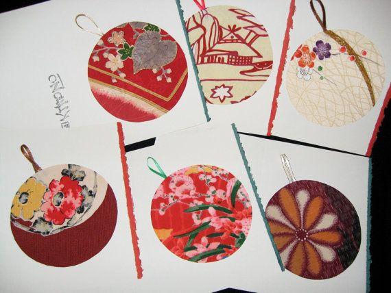 Japanese kimono silk Christmas greeting cards  set by KIMONOCARDS