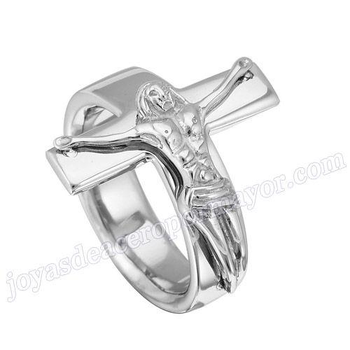 Material: Acero Inoxidable   Nombre:Anillo de  moda de acero de forma cruz con jesus   Model No.:SSRG122